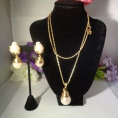 """Take 15% off w/Coupon 122416 Vintage Givenchy Faux Pearl Gold Plated 36"""" Necklace w/Lg Faux Pearl Pendant. 2"""" Faux Pearl Drop Earrings.  by CCCsVintageJewelry on Etsy"""