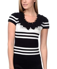 Look at this Black & White Bow Cap-Sleeve Top on #zulily today!