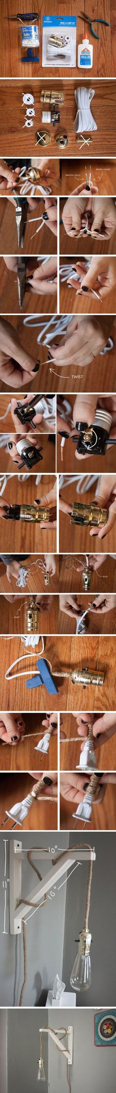 Make a lamp photo instructions - might work for hanging night light : Dump A Day Amazing Do It Yourself Craft Ideas - 40 Pics Strip Lighting, Home Lighting, Diy Luz, Fun Crafts, Diy And Crafts, Craft Projects, Projects To Try, Craft Ideas, Deco Luminaire