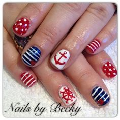 beach nail art | Party! ~Life's a Beach! / Nautical nails by LifeLovePolish - Nail Art ...