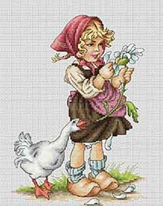 Girl with Goose Cross Stitch Kit By Luca S