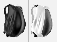 "futuristic backpack ""bag7"" for mobile lifestyle in black and white    mobility & sport . Mobilität & Sport . mobilité & sport   Design: Karan Singh Gandhi @ Yanko Design  "