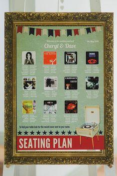 retro music wedding table plan | www.onefabday.com