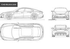 Audi e-tron GT CAD Block Cad Blocks, Cad Drawing, Garden Plants, Audi, Drawings, Vehicles, Sketches, Car, Drawing