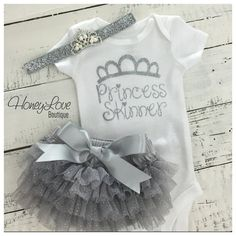 SET CUSTOM Princess name personalized shirt Newborn baby girl take home hospital outfit glitter tiara crown headband sparkle ruffle bloomers by HoneyLoveBoutique