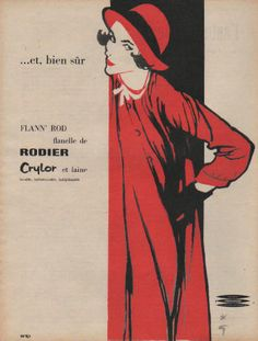 Publicité ( René Gruau ) flann'rod flanelle de rodier