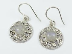 Fine sterling silver rainbow moonstone earrings