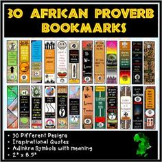 African inspiration proverbs perfect for readers, students and teachers or to be used as gifts. Just in time for black history month or anytime of the year. •30 Bookmarks with African Inspirational Proverbs•Each bookmark is designed differently •Each bookmark has a West African Adinkra Symbol with t...