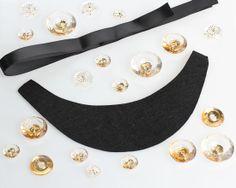 Black Felt Ribbon Necklace Kit with Clear Gems