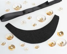 Black Felt Ribbon Necklace Kit with Clear Gems