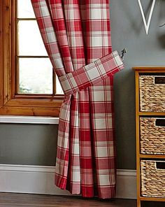 Red check woven ring top curtains