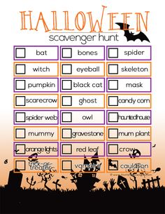 Having a Halloween Party? Use this fun free Halloween Scavenger Hunt Printable for a fun activity! Also great for a school Halloween party!