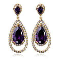 New Drop earrings Lead Free Gold Plated Cubic Zirconia Wedding Earrings vintage jewelry  Free Shipping