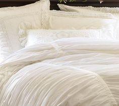White bedding is so classy. Hadley Ruched Duvet Cover & Sham - White #potterybarn