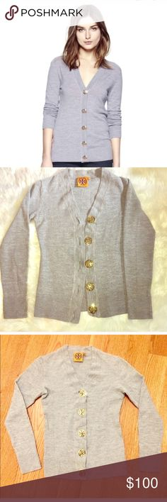 XS Tory Burch Simone Gray Merino Wool Cardigan In EUC! Soft merino wool is more luxurious than regular wool and softer on the skin. Gorgeous gold T buttons add a touch of glam to the gentle wintery gray. Tory Burch Sweaters Cardigans