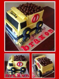 Truck lorry semi tonka malteaser birthday cake Birthday Party Themes, 2nd Birthday, Birthday Cakes, Diy Party, Birthdays, Baking, Eat, Yum Yum, Fondant