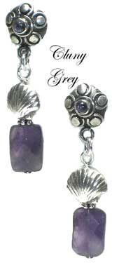 amethyst earrings dangle from sterling silver posts with amethyst cabochons embedded - http://www.clunygreyjewelry.com/amethyst-earrings.html