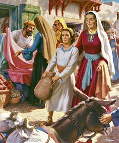Luke Jesus with Mary in Marketplace Road To Emmaus, Doubting Thomas, Son Of David, Total Image, Mary And Martha, Luke 2, Bible Illustrations, Jesus Face, Blessed Mother Mary