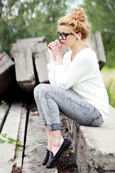 Comfy for fall. Braided Knit Sweater: Beginning Boutique -- Jeans: Joe's acid wash -- Shoes: Steve Madden
