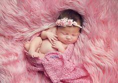 Newborn Pink Rose Plaited Tieback. Baby Rose by verityisabelle, £14.50