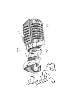 """Hand drawn ... Old microphone .. On the ribbon ...the title of the song """"what a wonderful world"""" by Louis Armstrong in music notes .. Daddy B aka my grandfather who used to sing that song ... To this very day I get choked up when I hear it ..."""