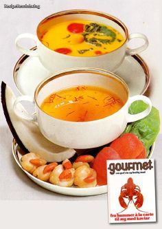 "Caribbean Scallop Soup – Caribisk Muslingesuppe - A recipe from ""Fra Hummer à la Carte til Æg Med Kaviar"" (From Lobster à la Carte to Eggs With Caviar) published by Lademann in 1978"