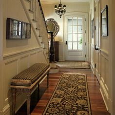 Entry Hall Design Ideas, Pictures, Remodel, and Decor by Laurie Kertis, Ltd. Entry Way Design, Hall Design, Hallway Designs, Hallway Ideas, Entrance Ideas, Hallway Colors, Hallway Pictures, Hallway Bench, Front Hallway