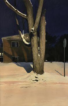 Obscured Nocturne II - Christopher Burk American,b. Gouache on paper, x 13 in. American Realism, American Art, Winter Landscape, Urban Landscape, Nocturne, A Level Art, Realism Art, Love Art, Contemporary Artists