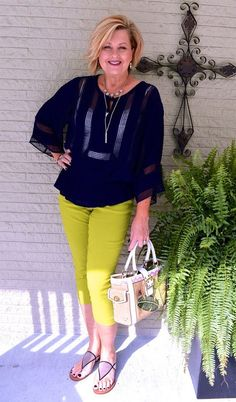 50 Is Not Old | What To Wear While Losing Weight | Navy + Green | Summer Outfit | Fashion over 40 for the everyday woman