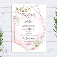 Virágos Geometrikus Rosegold Esküvői Meghívó Metallic Wedding Theme, Our Wedding, Design, Invitations, Bodas, Art, Save The Date Cards