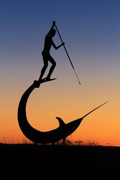 Fisherman Swordfish Spearfishing Silhouette Photo by klgphoto, $25.00 Silhouette against the sunset of the swordfish statue at Menemsha, Martha's Vineyard. Available in a number of sizes via my Etsy shop: klgphoto.etsy.com