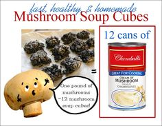 Mushroom soup cubes.. Great alternative to canned cream of mushroom soup! You can make your own quick, fast and in a hurry. Love this idea!