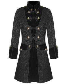 Pentagramme-Mens-Brocade-Jacket-Frock-Coat-Black-Gothic-Steampunk-VTG-Victorian
