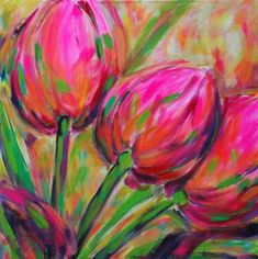 Betty Jonker - Spring is in the air (schilderijen/acryl) Tulip Painting, Spring Painting, Spring Art, Painting Prints, Watercolor Paintings, Acrylic Painting Flowers, Watercolor Drawing, Abstract Flowers, Watercolor Flowers