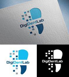 Winning logo design for DigiDentLab dentist technical company Dental Clinic Logo, Dentist Logo, Dental Business Cards, Free Business Cards, Teeth Logo, Branding Design, Logo Design, Dental Office Design, Clinic Design