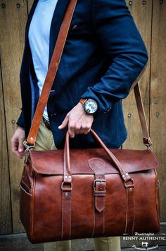 Men's Leather Duffle Bag, Classic Travel Holdall, Cabin Luggage, Carry Lite…