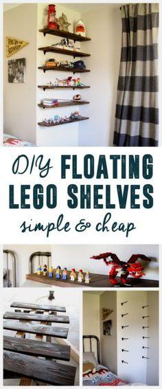 DIY Floating Lego Shelves - Home Professional Decoration Lego Display Shelf, Lego Shelves, Craft Room Shelves, Lego Storage, Diy Storage, Storage Shelves, Wall Shelves, Storage Ideas, Shelf Ideas