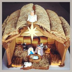 Gingerbread Nativity Scene-like shredded wheat straw