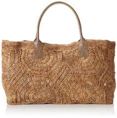 Flora Bella Women's Byblos Crochet Leather Tote Bag, Cement, One Size Handmade Handbags, Handmade Bags, Knitted Bags, Crochet Bags, Diy Bags Purses, Leather Workshop, Summer Bags, Basket Bag, Beautiful Bags