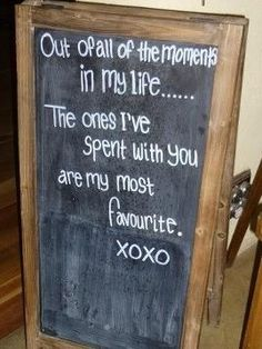 Beautiful blackboard words for engagements and weddings