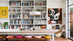 The Design Files: Inside the colourful and vibrant home of artist Rachel Castle The Design Files, Design Blog, Design Design, White Bookshelves, Bookcase, Decoration Inspiration, Interior Inspiration, Yellow Cupboards, Interior Bohemio