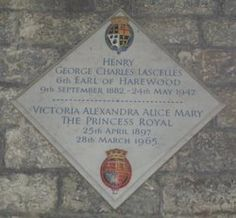 Princess Mary, Countess of Harewood died at Harewood House on 28th March 1965 and is buried at All Saint's Church in Harewood.  This image shows her memorial in the church