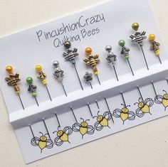 Bee Sewing Pins - Dress up your Pincushion - Silvertone Bee Pins - Quilting Pins - Pincushion Pals - Quilter Gifts - Secret Sister Gift Stick Pins, Sewing Accessories, Love Sewing, Sewing Notions, Pin Cushions, Gifts For Kids, Sewing Crafts, Sewing Projects, Diy Crafts