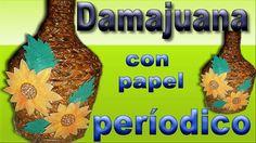 Damajuana con papel periodico..