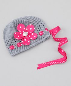 Gray & Pink Polka-Dot Flower Beanie