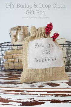 DIY Burlap & Drop Cloth Gift Bag by somuchbetterwithage.com (scheduled via http://www.tailwindapp.com?utm_source=pinterest&utm_medium=twpin&utm_content=post264293&utm_campaign=scheduler_attribution)