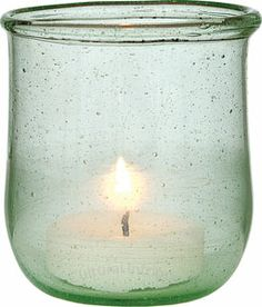 Small Light Green Recycled Glass Candle Holder