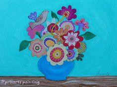 Folk Art Pristine Whimsical Flowers Florals Still Life by prisarts  BLOOMS,FLORALS,FLOWERS,MEXICAN,ART,FOLK ART, PAINTING, STILL-LIFE,PRISARTS,PRISTINE,CARTERA-TURKUS,WHIMSICAL, BEST-SELLER,POPULAR,SALE,NURSERY,BEDROOM,DESIGN,INTERIOR DESIGN, DECOR, HOME, HOUSEWARMING, GIFT, PRESENT