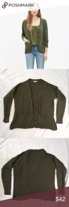 Madewell army green cardigan Super comfy Madewell army green cardigan! Has 2 pockets. It's a nice thicker knit material. Used, but in good condition :) Madewell Sweaters Cardigans