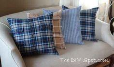 Flannel Shirt Pillows    http://www.thediyspot.com/wp-content/uploads/2011/12/shirt-pillows_3728.jpg